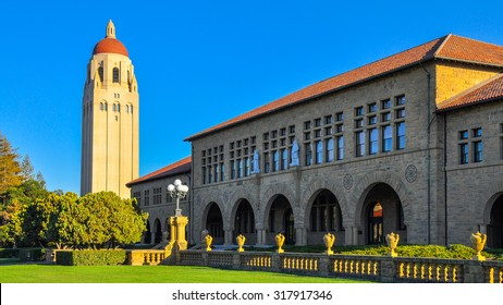 Palo Alto, CA - Sep-17-2015: Stanford University Hoover Tower. Completed in 1941, the 50th year of Stanford University's anniversary, the tower was inspired by the cathedral tower in Salamanca, Spain.