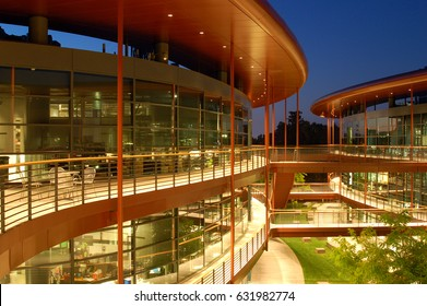 Palo Alto, CA, USA July 31 The modern design of the James Clark Center on the Campus of Stanford University in Palo Alto California, houses the schools biology research department