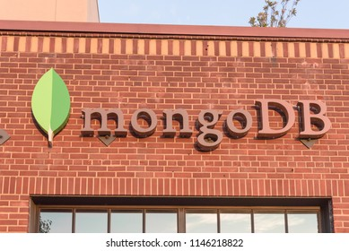 PALO ALTO, CA, US-JUL 18, 2018:Façade exterior of MongoDB branch office location in Silicon Valley, San Francisco Bay Area. A free and open-source cross-platform document-oriented database NoSQL