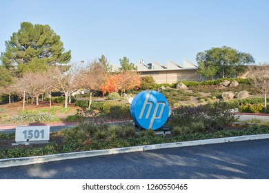 Palo Alto, California - Dec 10, 2018: The HP sign at HP headquarters.