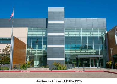 Palo Alto, California, United States - June 22, 2018: An empty brand new office building in Palo Alto. The building is a former headquarters of privately held health technology company Theranos
