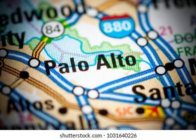 Palo Alto. California. USA on a map.