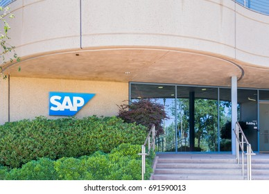 PALO ALTO, CA/USA - JULY 29, 2017: SAP SE coporate building and logo. SAP SE makes enterprise software to manage business operations and customer relations.