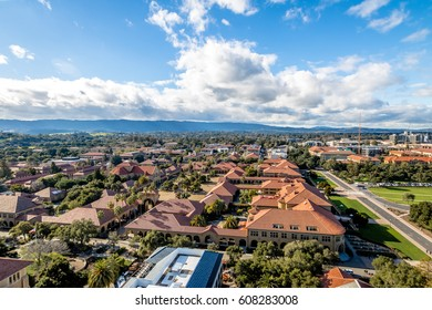 PALO ALTO, USA - January 11, 2017: Aerial view of Stanford University Campus - Palo Alto, California, USA