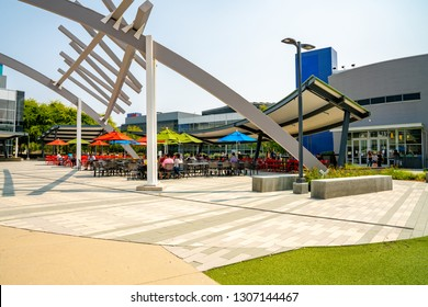 Palo Alto, USA. September 10, 2018. Googleplex office in Silicon Valley. Huge Google sign, Android robot sculpture and main Google office.