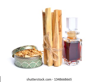 Palo santo, Holy Wood sticks with essential oil. Isolated on white background