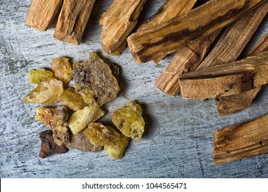 palo santo wood closeup with copal tree resin called sahumerio in Ecuador