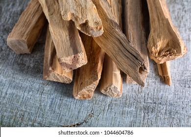 palo santo wood sticks closeup in Ecuador