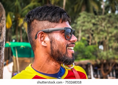 PALOLEM GOA INDIA 10-26-2017  Life guard, Beach of Palolem in Goa in the morning