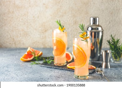 Paloma cocktail tequila fresh grapefruit juice combined and rosemary. Festive drink is ideal for brunch, parties and holidays.