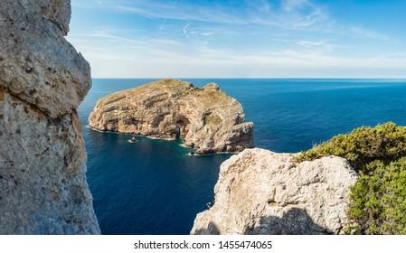 Palombi cave on Foradada Island near Alghero city in Sassari Province, Sardinia, Italy.