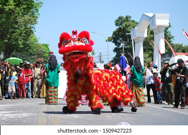 Palopo, South Sulawesi, Indonesia - September 9, 2019: Barongsai Dance at the  Archipelago Palace Festival