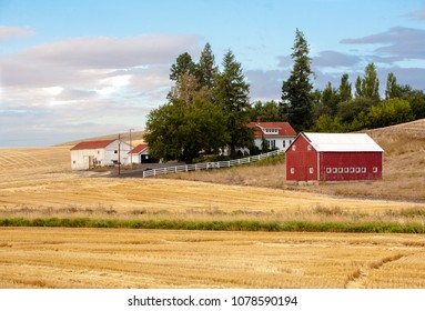 Palouse, Washington - 9/10/2010: A farm with a red barn in the fall season in the palouse wheat country in southeastern Washington.