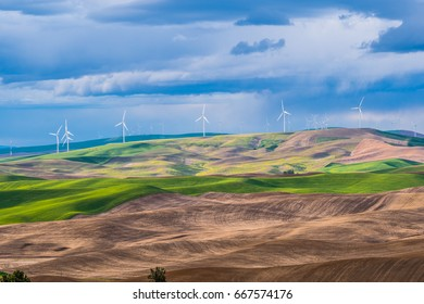 Palouse Wind Turbines. Amazing green hills. Steptoe Butte State Park, Eastern Washington, in the northwest United States.