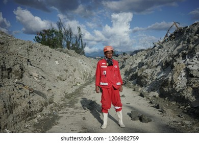 Palu, 8 October 2018 The Leader of Indonesian Red Cross when he lead the Victim Evacuation in Petobo is affected by liquefaction due to an earthquake 7,7 on the Richter Scale.