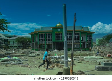 PALU Central Sulawesi, INDONESIA - OCTOBER 8, 2018: after the tsunami and earthquake disaster, many buildings were damaged. Palu city, Central Sulawesi, currently needs serious rehabilitation.