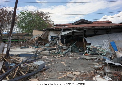 PALU, INDONESIA - OCTOBER 11th, 2018: Houses and buildings were seen destroyed by the earthquake and tsunami that hit the city in Palu, Central Sulawesi, on October 11th, 2018. A tsunami triggered by