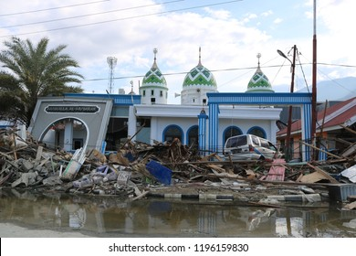 PALU, INDONESIA - OCTOBER 6 2018: The condition of a mosque which was badly damaged due to the earthquake and tsunami in the Donggala and Palu regions, Central Sulawesi