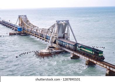Pamban Bridge, Tamil Nadu, India...