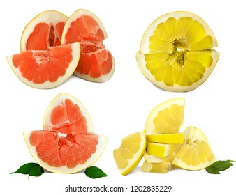 Pamelo big and juicy fruit on a white background, different views on one sheet. Citrus bright color without background. isolate