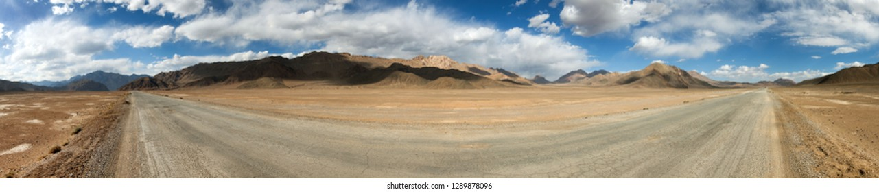 Pamir highway or pamirskij trakt. Landscape around Pamir highway M41 international road, Pamir mountains in Tajikistan