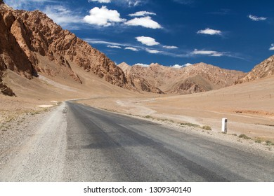 Pamir highway or pamirskij trakt. Landscape around Pamir highway M41 international road, mountains in Tajikistan