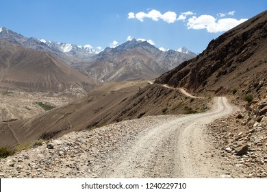Pamir highway or Pamirskij trakt unpaved road in Tajikistan, gorno-badakhshan region, Wakhan valley. Pamir and Hindukush mountains