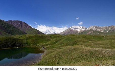 Pamir mountains, Landscapes in the Alay valley which is the trail for the peak the second largest in Kyrgyzstan and Tajikistan - Ibn peak Sina (Awicenna), old name peak of the Lenin, Kyrgyzstan