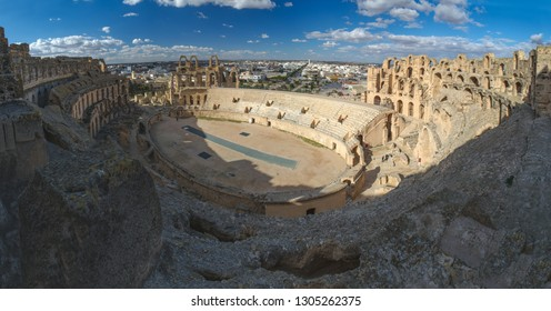 Pamorama of Ruins of Amphitheatre of El Jem (colloseum), a UNESCO world heritage site in Tunisia, North Africa