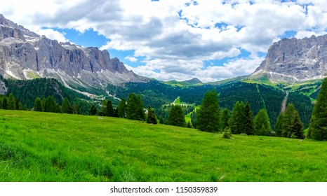 The pamorama view of the Val Gardena, South Tyrol, Dolomites, Italy.