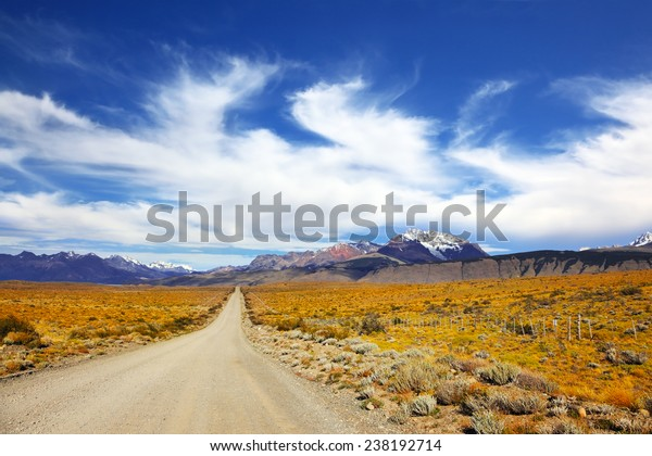 The pampas in Patagonia, Argentina. The road in the desert