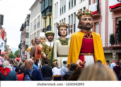 PAMPLONA / Navarre / Spain - 10/14/2019: Parade of giant dolls at the San Firmino celebrations in Spain.