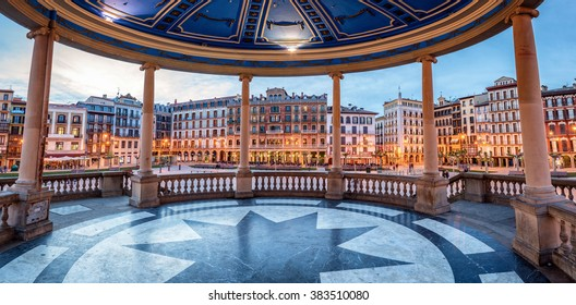 Pamplona, Spain- April 28, 2015: Gazebo on Square Castillo Pamplona, Navarra, Spain