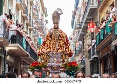 PAMPLONA, SPAIN - JULY 07: Statue of San Fermin in the procession of July 7 in Pamplona, Spain on July 07, 2016