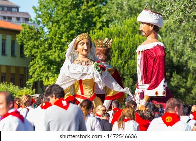 PAMPLONA, SPAIN - JULY 13: Giants and Bigheads parade at San Fermin festival on July 13, 2015 in Pamplona, Spain