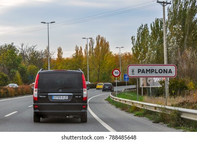 Pamplona, Spain - October 29, 2010: Traffic on the streets of the European city of Pamplona, Spain