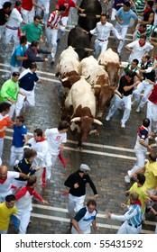 PAMPLONA-JULY 9:Aerial view of the Bull running in the calle Estafeta. Fiesta de San Fermin, Pamplona, Navarra, Spain 9 July 2008 in Pamplona Spain