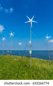 Pampus island, ijmeer, the Netherlands - August 30, 2016: micro grid wind turbines