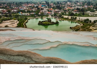 "Pamukkale landscape. Pamukkale, meaning ""cotton castle"" in Turkish, is a natural site in Denizli in southwestern Turkey."