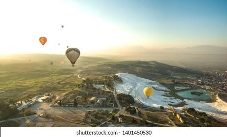 Pamukkale Travertines Flying Hot Air Balloons, Pamukkale Denizli Turkey
