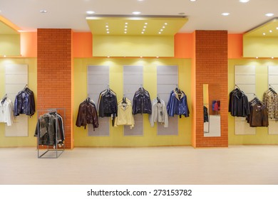 PAMUKKALE, TURKEY - APR 18, 2015: Leather clothes in the Leather studio Romanov in Turkey. It's a popular destination for the people looking for a good quality leather clothes