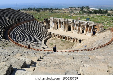 PAMUKKALE, TURKEY - April 16: The ancient theater of the Roman city of Hierapolis on April  16, 2014 in Pamukkale, Turkey. The site is a UNESCO World Heritage site.