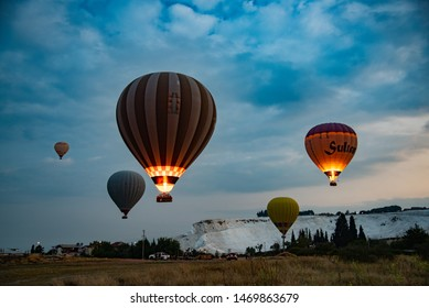 Pamukkale / Turkey - July 20 2019: Balloons in the sky