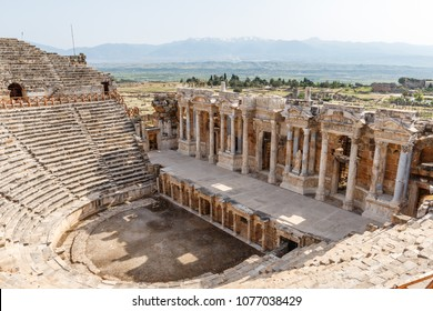 PAMUKKALE / TURKEY - MAY 2015: Ruins of the ancient town Hierapolis, now Pamukkale, Turkey