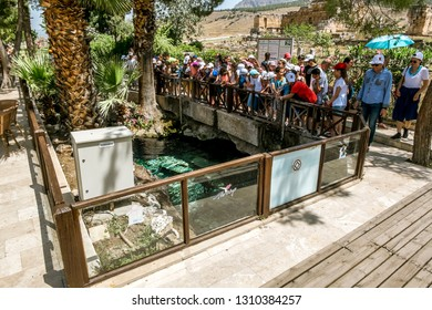 Pamukkale. Turkey.June 7, 2018.Vacationers are gaining water in the thermal springs near the pool of Cleopatra in Pamukkale
