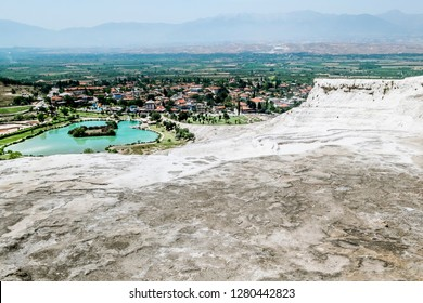 Pamukkale. Turkey.June 7, 2018.View on white 