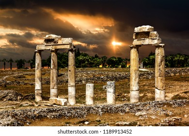 Pamukkale. Turkey.June 7, 2018.View of the ruins of the ancient city of Hierapolis at sunset.