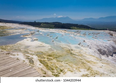Pamukkale,cotton castle,the area is famous for a carbonate mineral left by the flowing water,UNESCO World Heritage of Turkey.