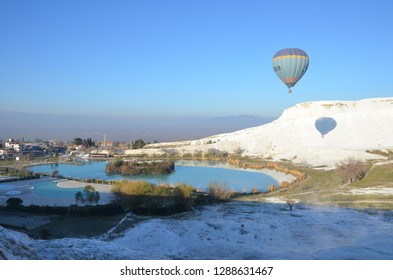 Pamukkale/Turkey_11 Jan 2019:  The calcium travertines at Pamukkale (Hierapolis), Turkey, near Denizli. Hot air balloon is one of the best way to appreciate the travertine.