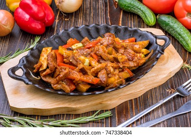 pan with beef stew
